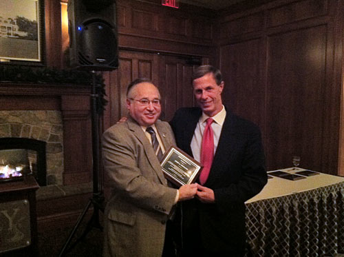 John A. Nikoloff, right, President of ERG Partners based in Harrisburg, is presented with a Special Recognition award by Ralph Schmeltz, MD.